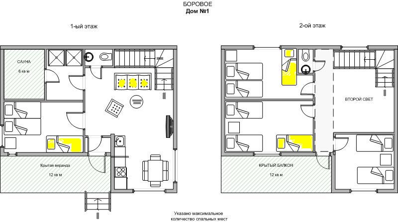 Дом №1 (план-схема коттеджа)